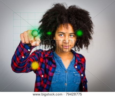 Teenage Girl With Whacky Afro Hair Playing A Virtual Game