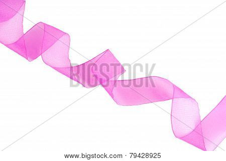 purple pink ribbon wavy isolated on white