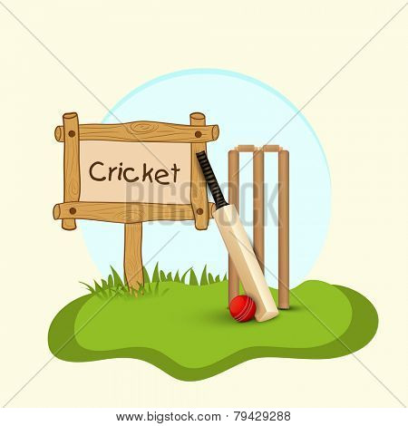 Text Cricket in a wooden board with shiny bat, ball and wicket stumps on green grass.