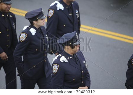 NYPD officers with white gloves