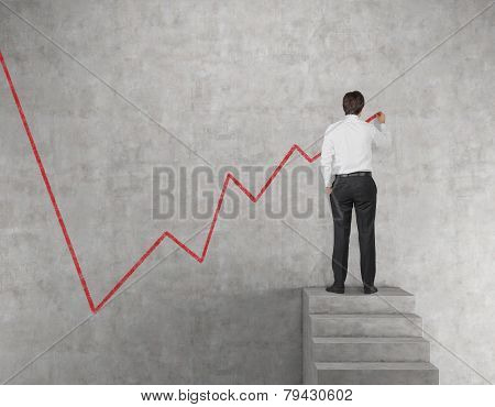 Businessman Drawing Chart Of Stock