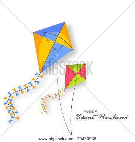 Shiny kites flying on occasion of Happy Vasant Panchami celebration.