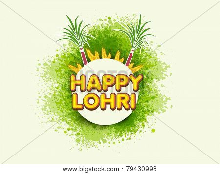 Sticker or label design for Happy Lohri, Punjabi Community festival celebration with sugarcanes and wheat grains on green splash background.