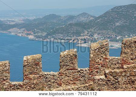 Ruins of Ottoman fortress in Alanya . Turkey.