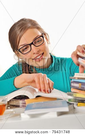a student girl studying at library