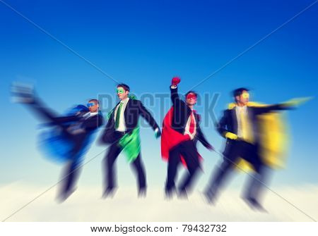 Strong Superhero Business Aspirations Confidence Success Concept