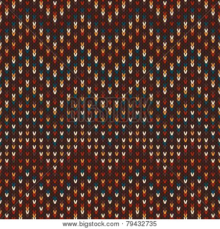 Seamless Multicolor Knitted Pattern. Geometric Zigzag Background. Vector Illustration