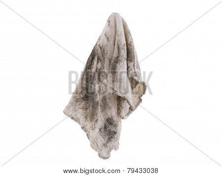 Dirty rag suspended isolated on white background