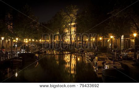 Amsterdam Night: Lights And Canal
