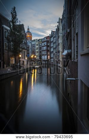 Canal In Amsterdam, Early Morning