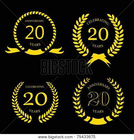 twenty years anniversary laurel gold wreath - 20 years set