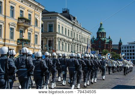 Military parade in Helsinki, Finland