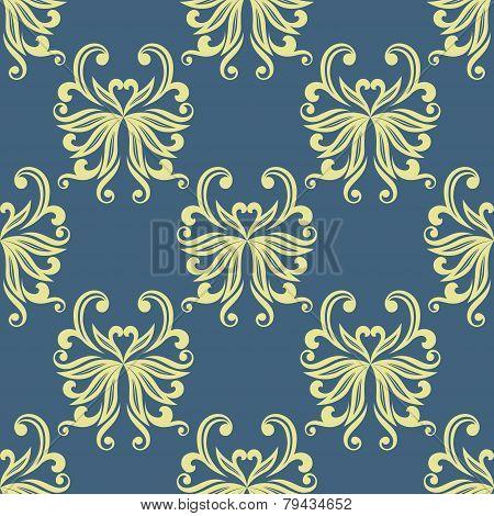 Yellow pansy seamless pattern