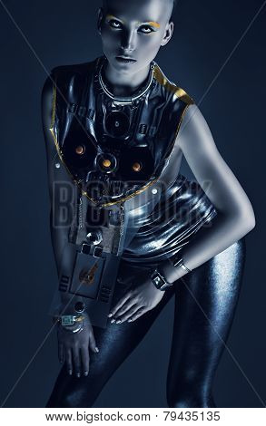 Space Woman In Silver Clothing