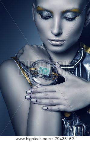 Space Woman Touching Bracelet