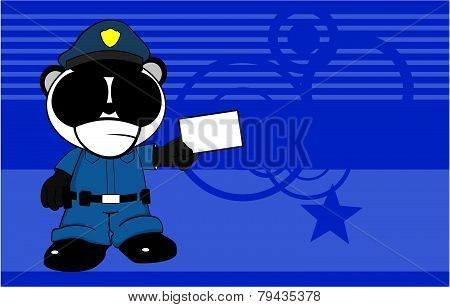 card panda bear cop cartoon background