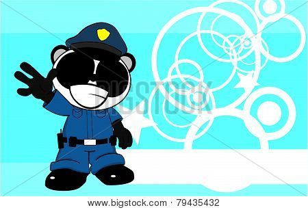 happy panda bear cop cartoon background