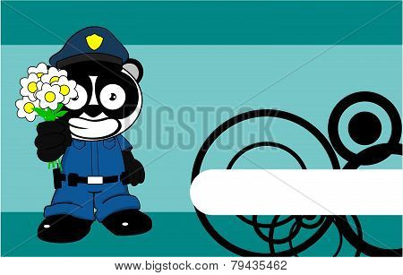 happy flowers panda bear cop cartoon background
