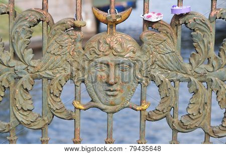 Bas-relief On A Bridge In The Center Of St.petersburg.