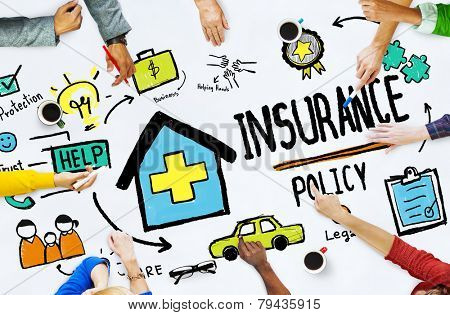 Diversity Casual People Insurance Policy Meeting Concept