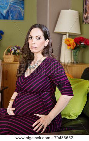 Calm Pregnant Woman Sitting