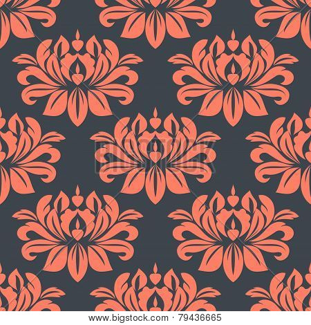 Seamless red peony flowers pattern