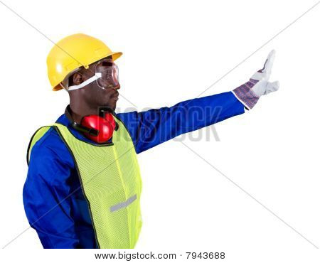 worker giving stop sign