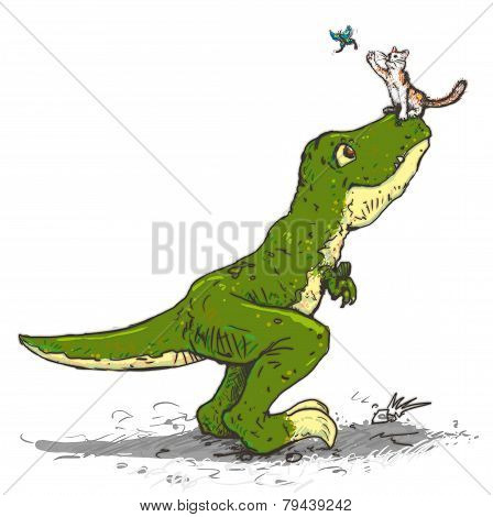 Tyrannosaurus And A Cat Catch The Butterfly