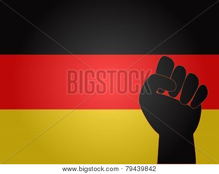 German Flag With Protest Sign