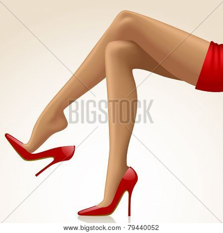 Cross-legged legs of girl in high-heeled red shoes and short red skirt isolated on white background. Fashion concept
