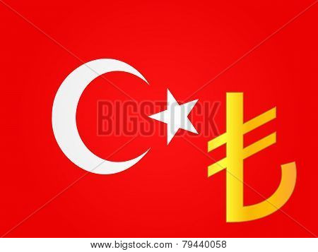 Lira Currency Sign Over The Turkish Flag