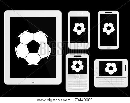 Mobile Devices With Football White