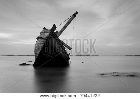 The Wrecked Ship In Black And White , Thailand