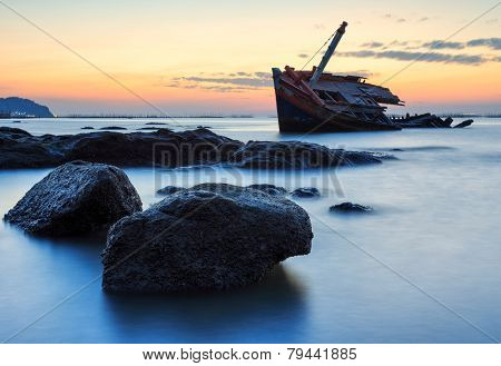 The Wrecked Ship On Stone Beach, Thailand