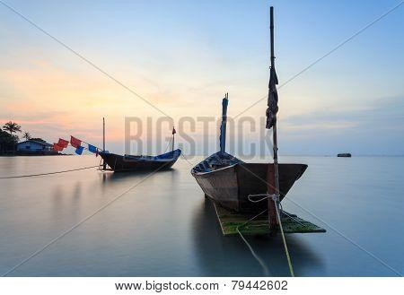 The Fishing Boat At Kon Ao Beach, Rayong, Thailand