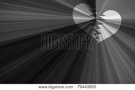 Black Valentine Background, Black And White Starburst With Heart Breaking