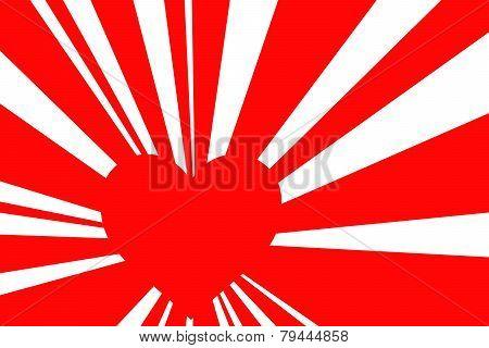 Red Retro Style Sunburst, Valentine Background With Red Heart