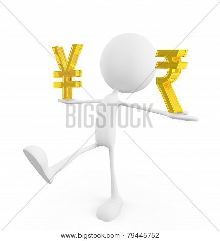 White Character With Yen And Rupee Sign