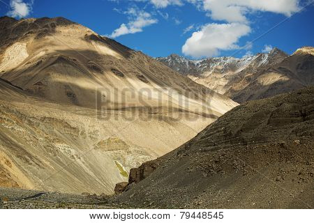sand mountain and blue sky on high road