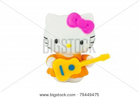 Hello Kitty Cat Toy Character Play Yellow Guitar.