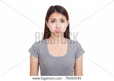 Young Asian Woman Is In Bad Mood
