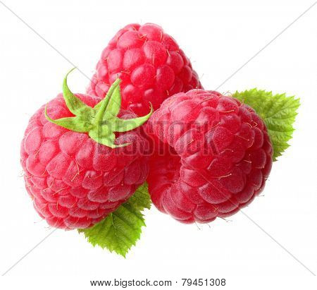 Red ripe berry raspberry isolated on white background