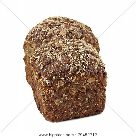 tasty buns bread with seeds and bran isolated on white background