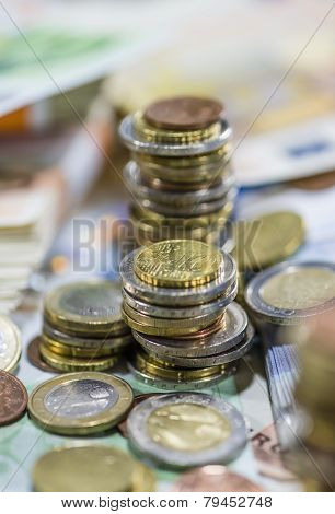 Euro Coins (close-up Shot)