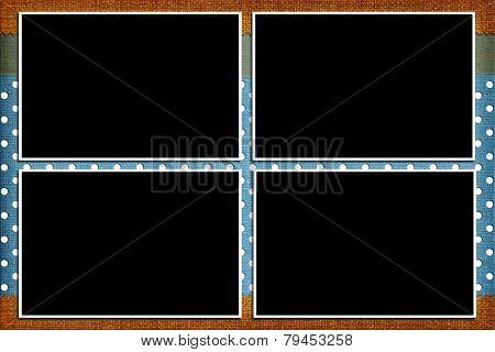 Decorative template with photo frames. Scrapbook, photobook concept