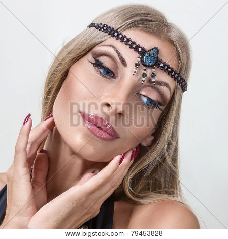 Young Fashion Woman With Indian Jewelry