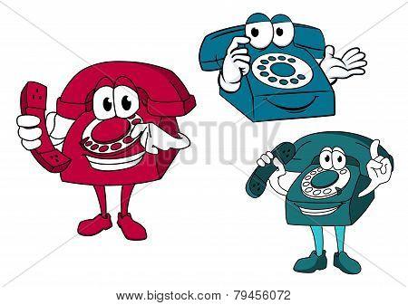 Cartoon Dial Telephone Characters