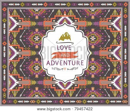 Hipster seamless tribal pattern with geometric elements