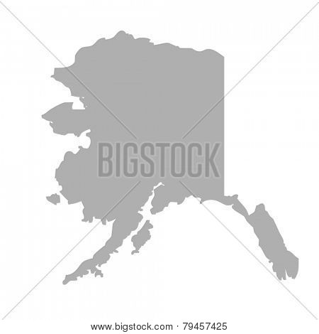 Alaska map isolated on a white background, U.S.A.