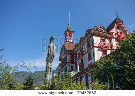 Vitznau, Switzerland - April 20, 2014:  Hotel Vitznauerhof At Mount Rigi Foothills And Shore Of  Lak